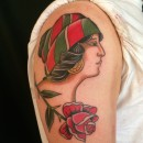 fine line traditional girls head and rose tattoo in colour