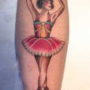 neotraditional colour tattoo of ballerina