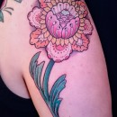 colourful pink and orange peony tattoo
