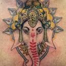 neotraditional style tattoo of ganesha head