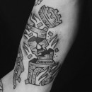 black and grey tattoo of exploding rook castle chess piece turret