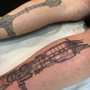 two calves tattooed with star wars ships