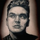 black and grey stylised portrait of morrissey of the smiths