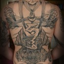 Asian style cliffs and writing back piece in black and grey with clouds