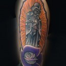 chicano style jesus tattoo with darth vader instead of statue of jesus